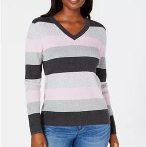 Karen Scott Cable Knit Striped Sweater, L, Pink